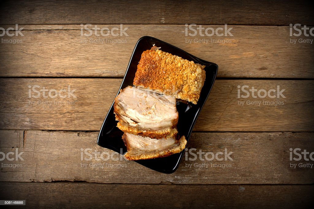 Crispy pork belly stock photo