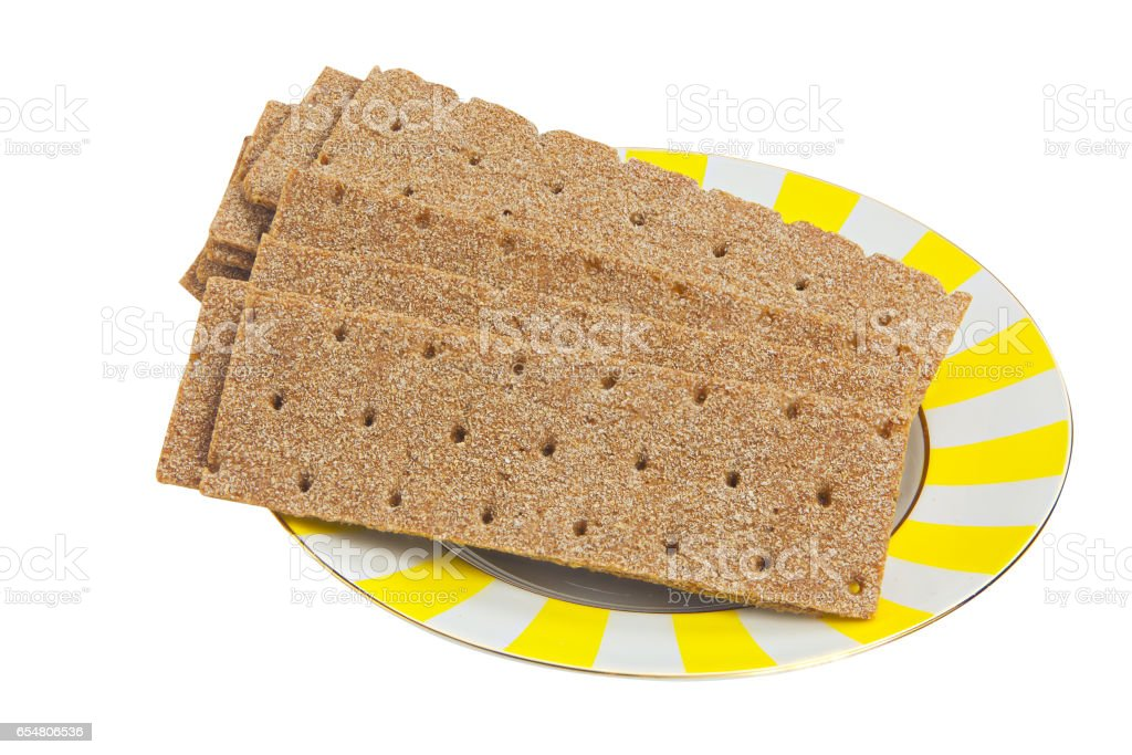 crispy rye bread isolated on white stock photo