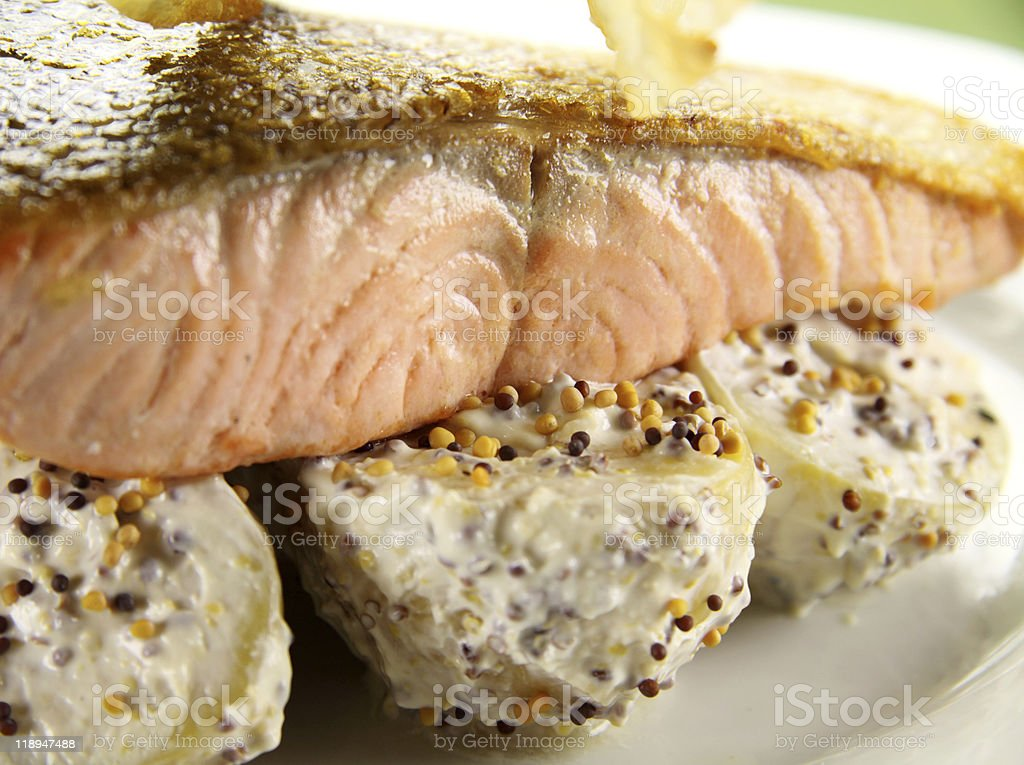 Crispy Skin Salmon royalty-free stock photo