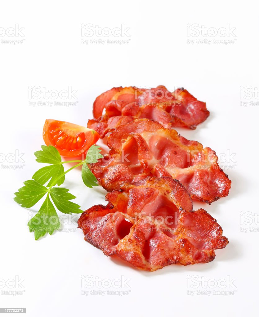 Crispy slices of bacon royalty-free stock photo