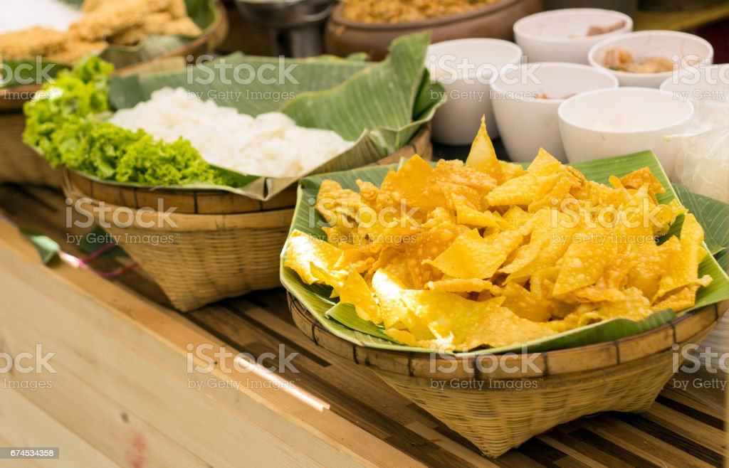 crispy tofu dumpling stock photo