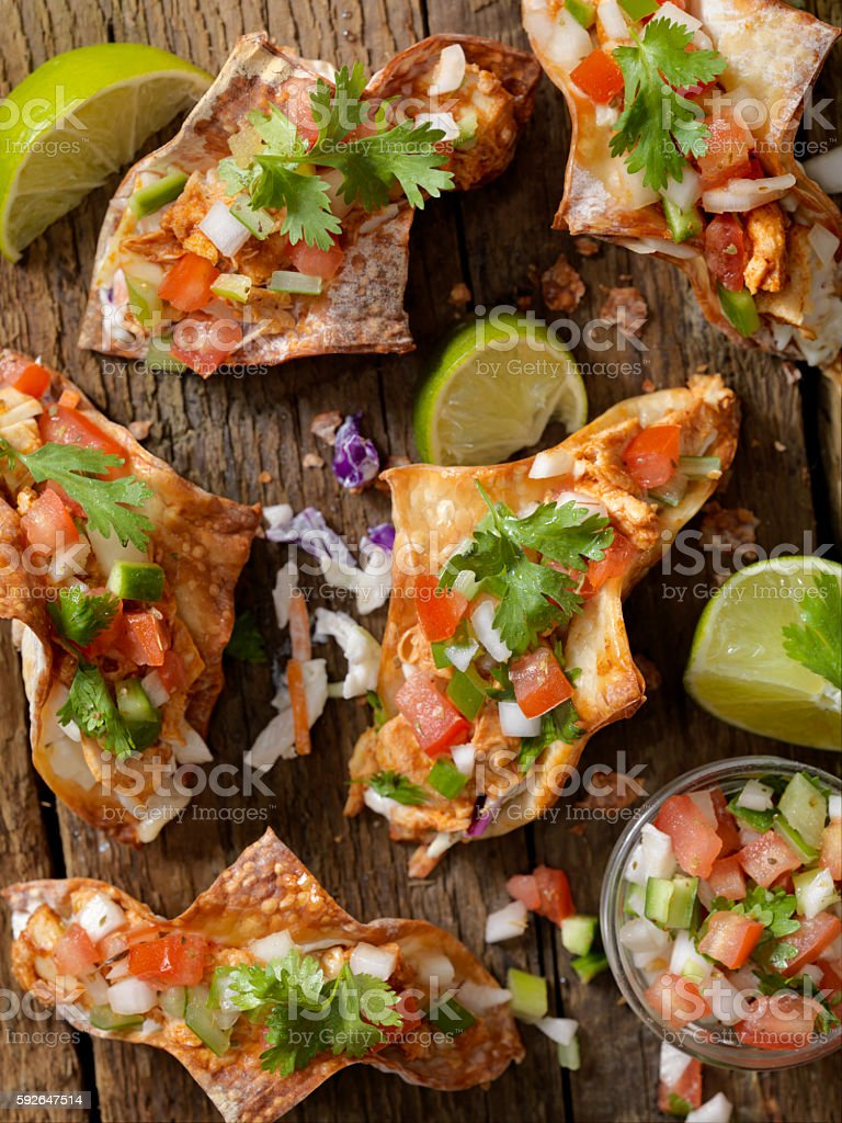 Crispy Wonton Chicken Tacos stock photo