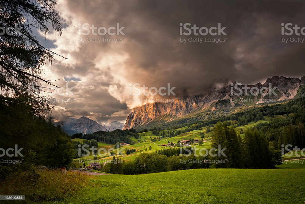 Cristallo group in the Dolomites at sunset, Northern Italy stock photo