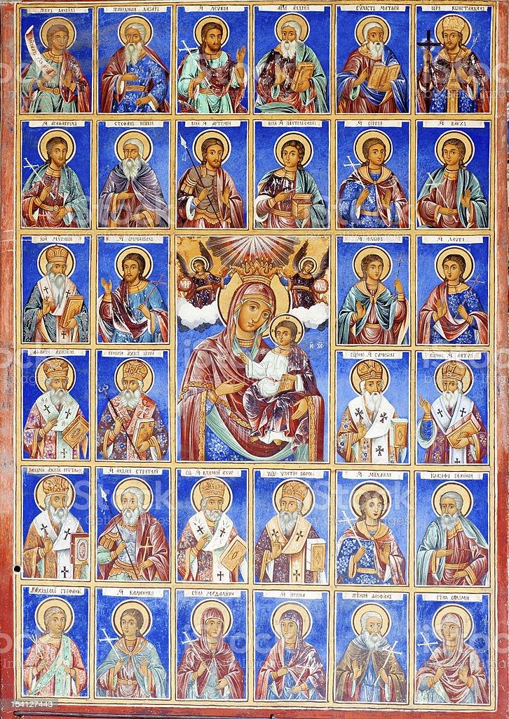 Cristian Murals, Fresco in Rila Monastery, Bulgaria stock photo