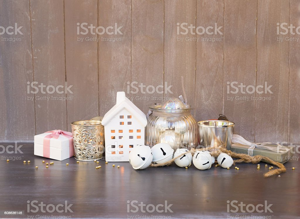 Cristmas decorations and winter house stock photo