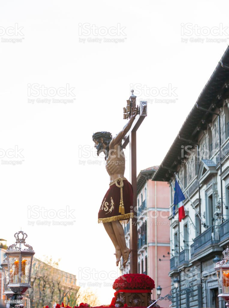 Cristo de los Alabarderos, in the procession of Holy Week in Madrid, April 13th, 2017 stock photo