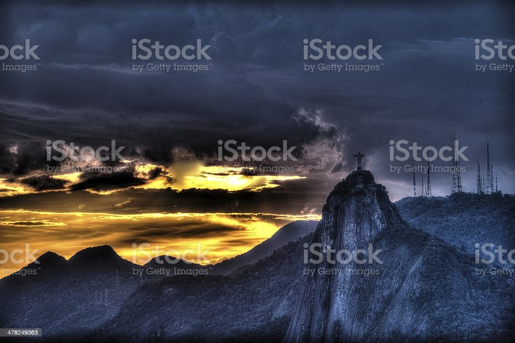 Cristo Redentor (Christ the Redeemer) at sunset stock photo