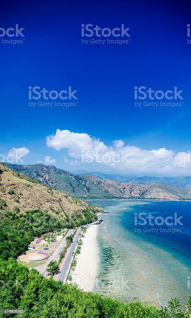 cristo rei landmark beach landscape view near dili east timor stock photo