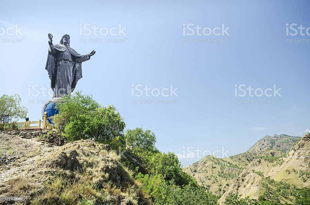 cristo rei landmark statue near dili east timor stock photo