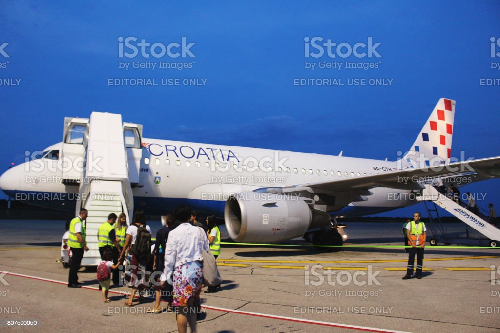 Croatia Airlines Airbus at Pula Airport stock photo