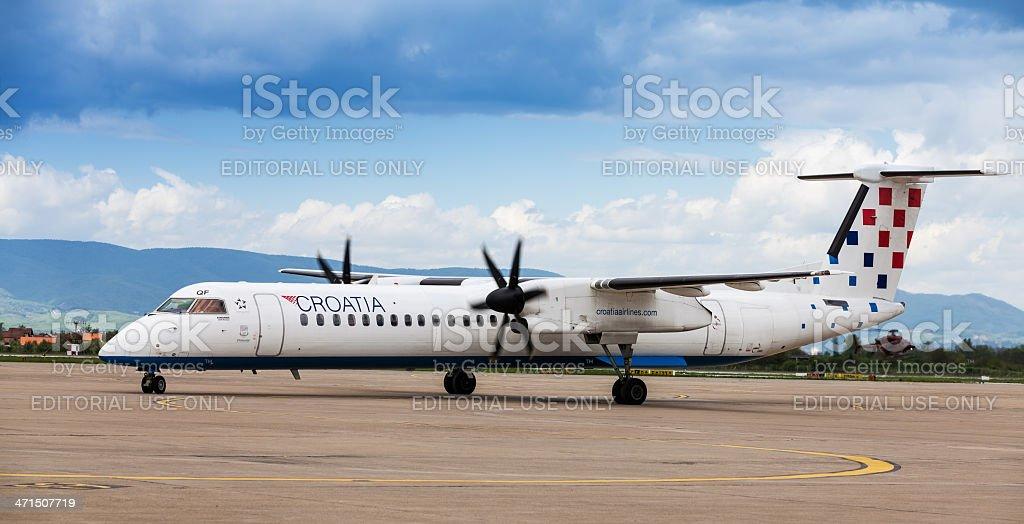 Croatia Airlines Dash 8 at Pleso airport in Zagreb stock photo