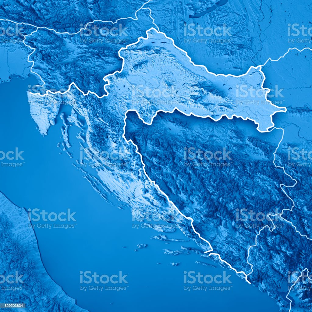 Croatia Country 3D Render Topographic Map Blue Border stock photo