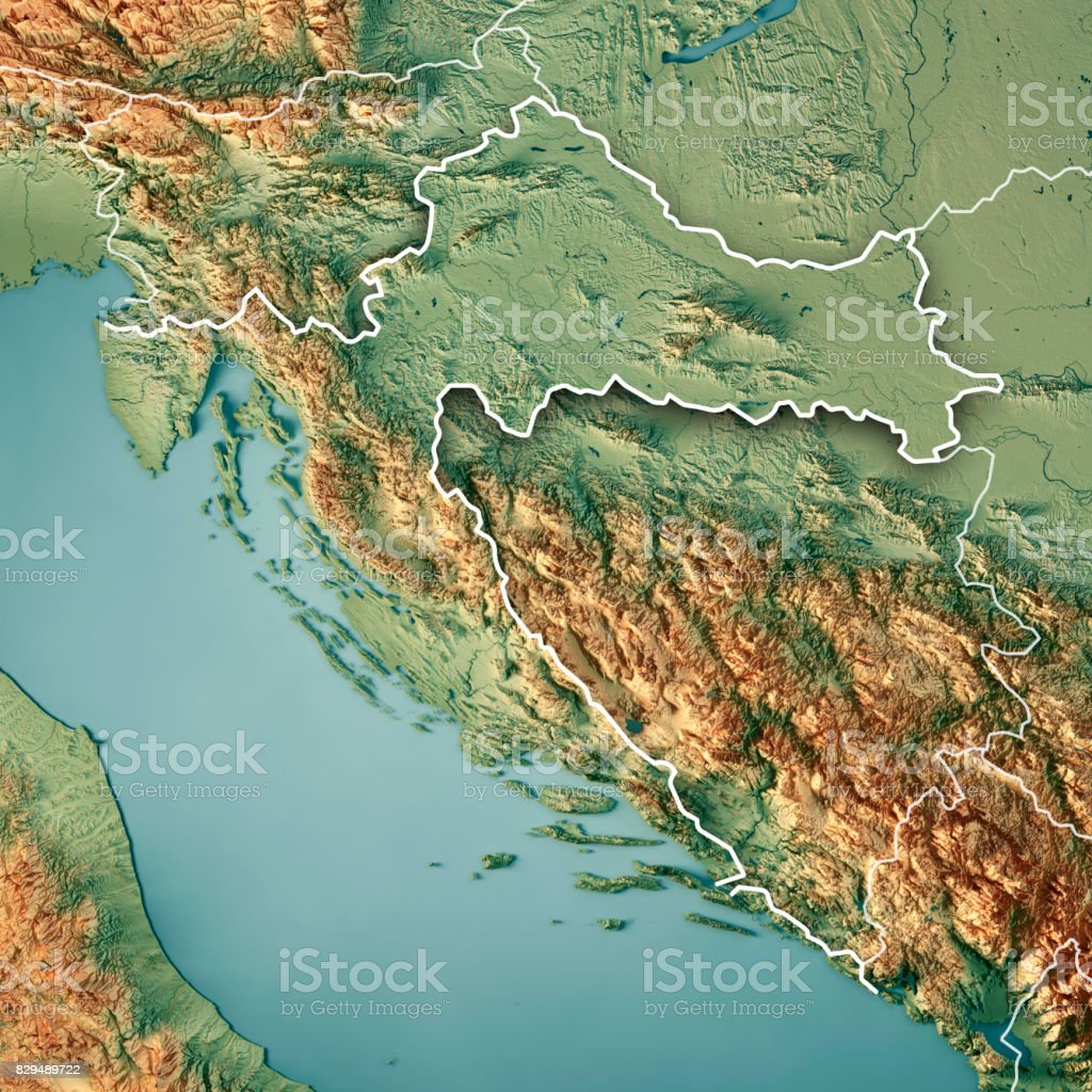 Croatia Country 3D Render Topographic Map Border stock photo