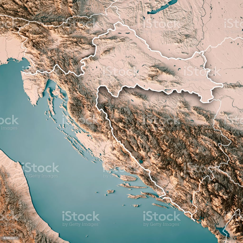 Croatia Country 3D Render Topographic Map Neutral Border stock photo