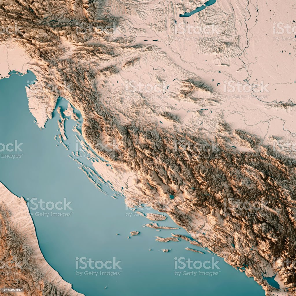 Croatia Country 3D Render Topographic Map Neutral stock photo
