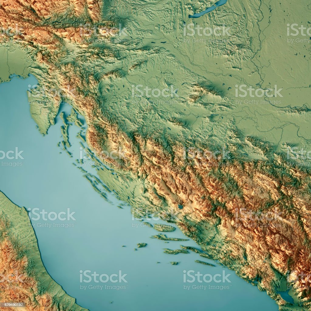 Croatia Country 3D Render Topographic Map stock photo