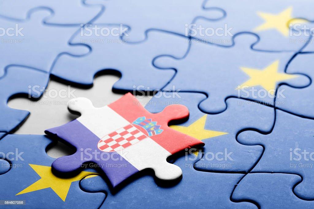 Croatia. Exit from European Union concept puzzle stock photo