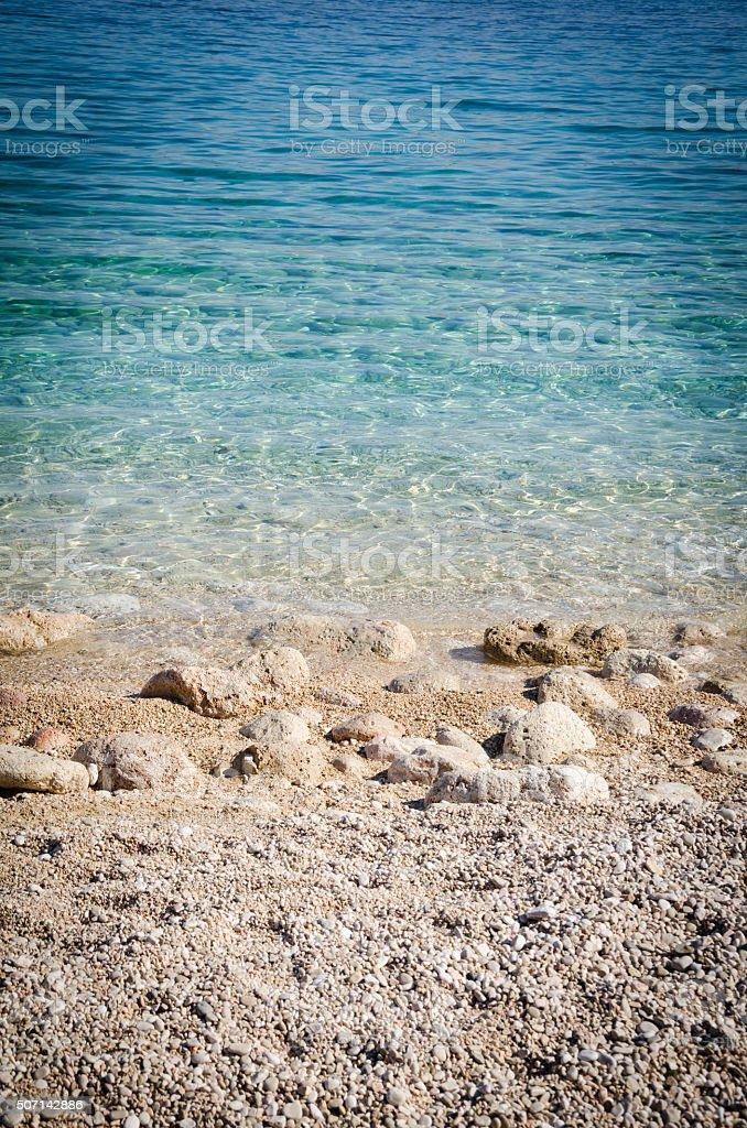 Croatian beach at a sunny day, Krk, Croatia stock photo