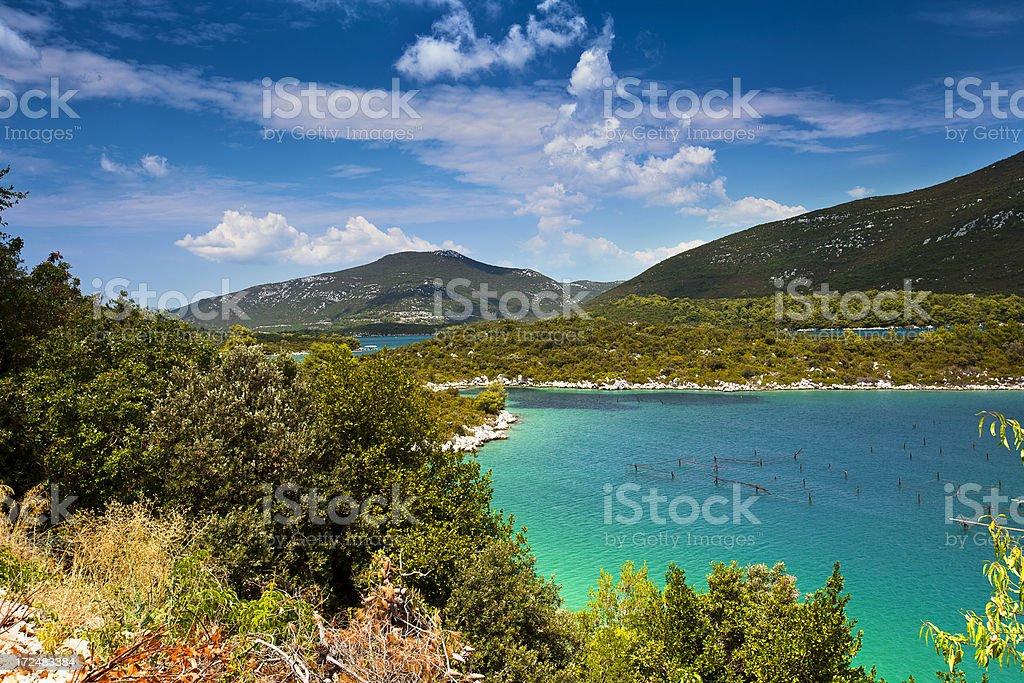 Croatian coastline, breeding mussels royalty-free stock photo