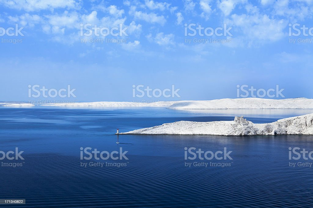Croatian coastline, Pag island stock photo