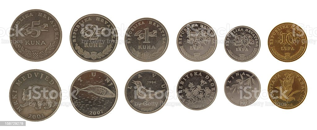 Croatian Coins Isolated on White stock photo
