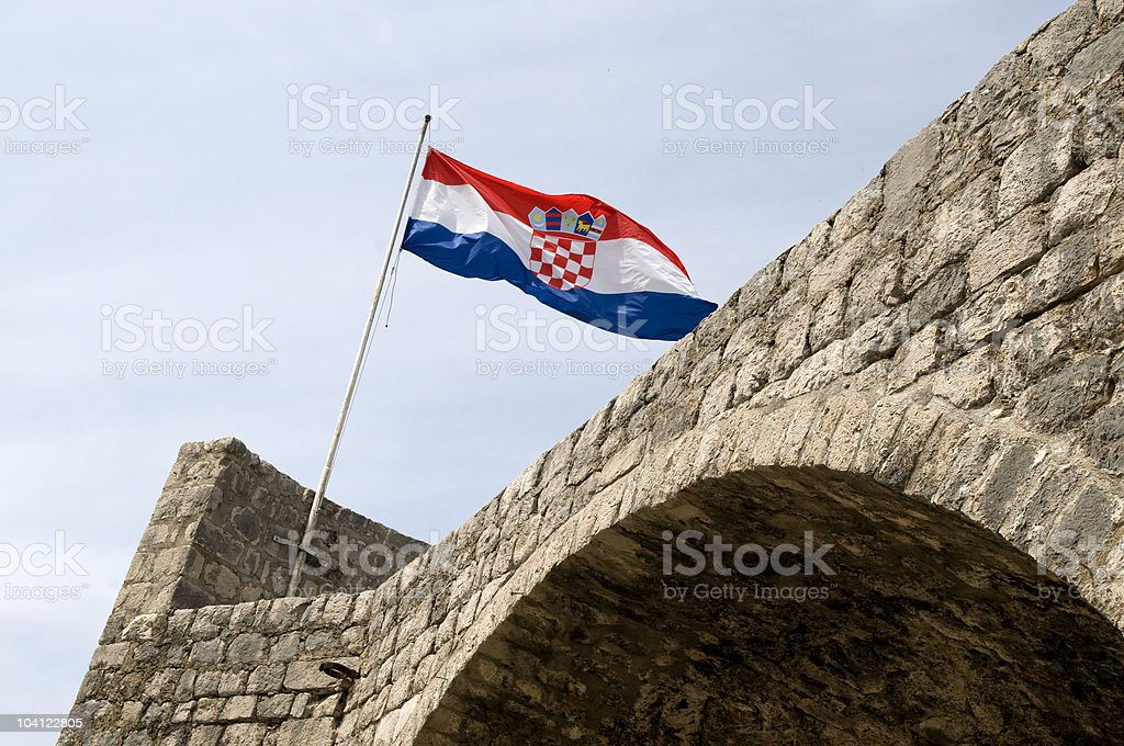 Croatian Flag on Walls of Ston royalty-free stock photo