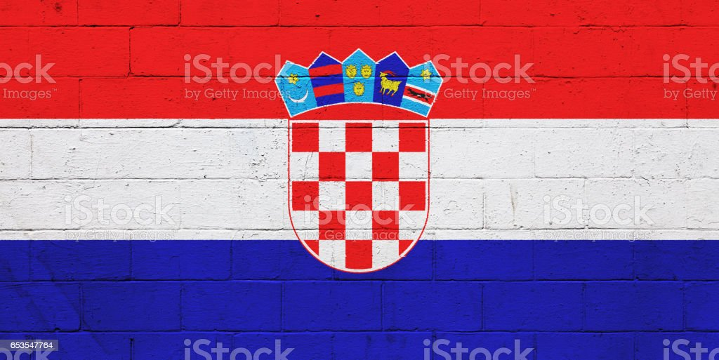 Croatian flag painted on a wall stock photo
