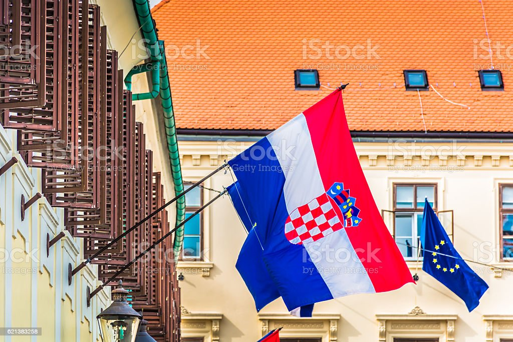 Croatian flag Zagreb Croatia. stock photo