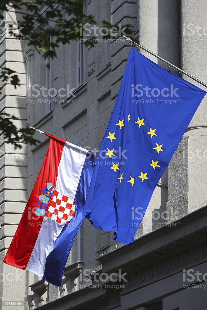 EU & Croatian flags in Zagreb royalty-free stock photo