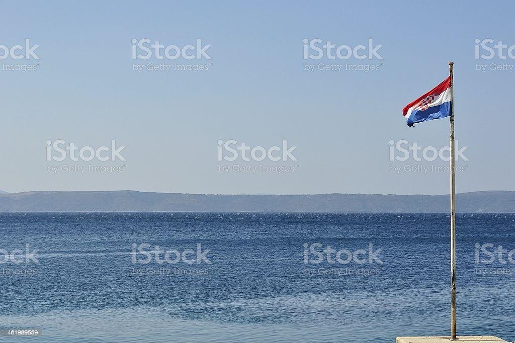 Chorwacki flagi narodowej latające na wiatr dzień zbiór zdjęć royalty-free