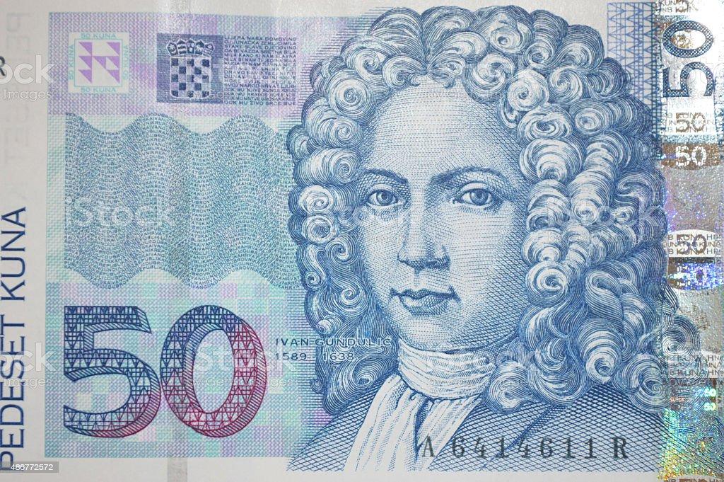 Croata poeta Ivan gundulic en kuna billete de banco de foto de stock libre de derechos