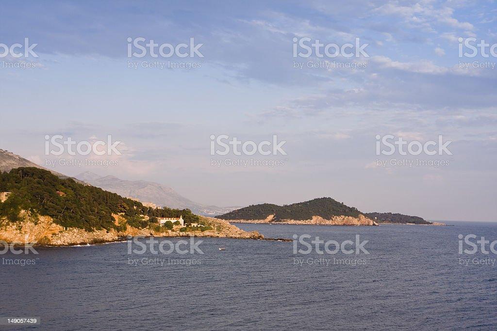 croatian shore line with a church stock photo