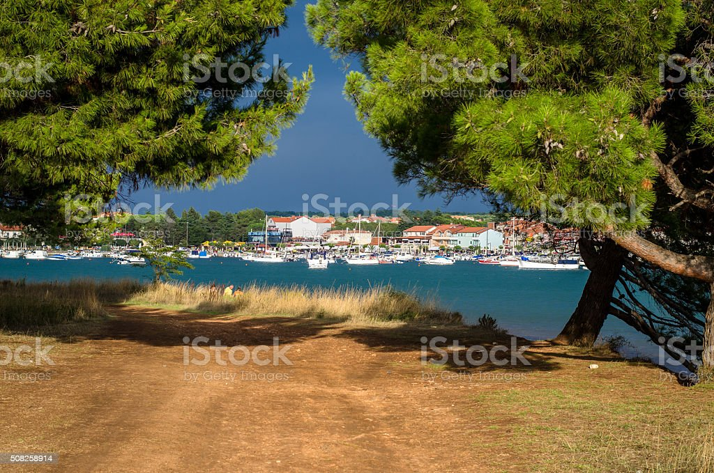Croatian shore with views to the bay stock photo