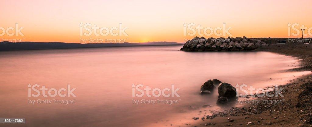 Croatian sunset stock photo