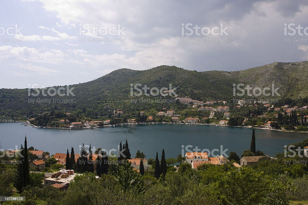 croatian village on the adriatic sea stock photo