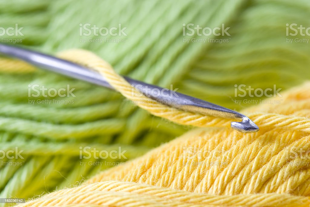 Crochet and cotton yarn royalty-free stock photo