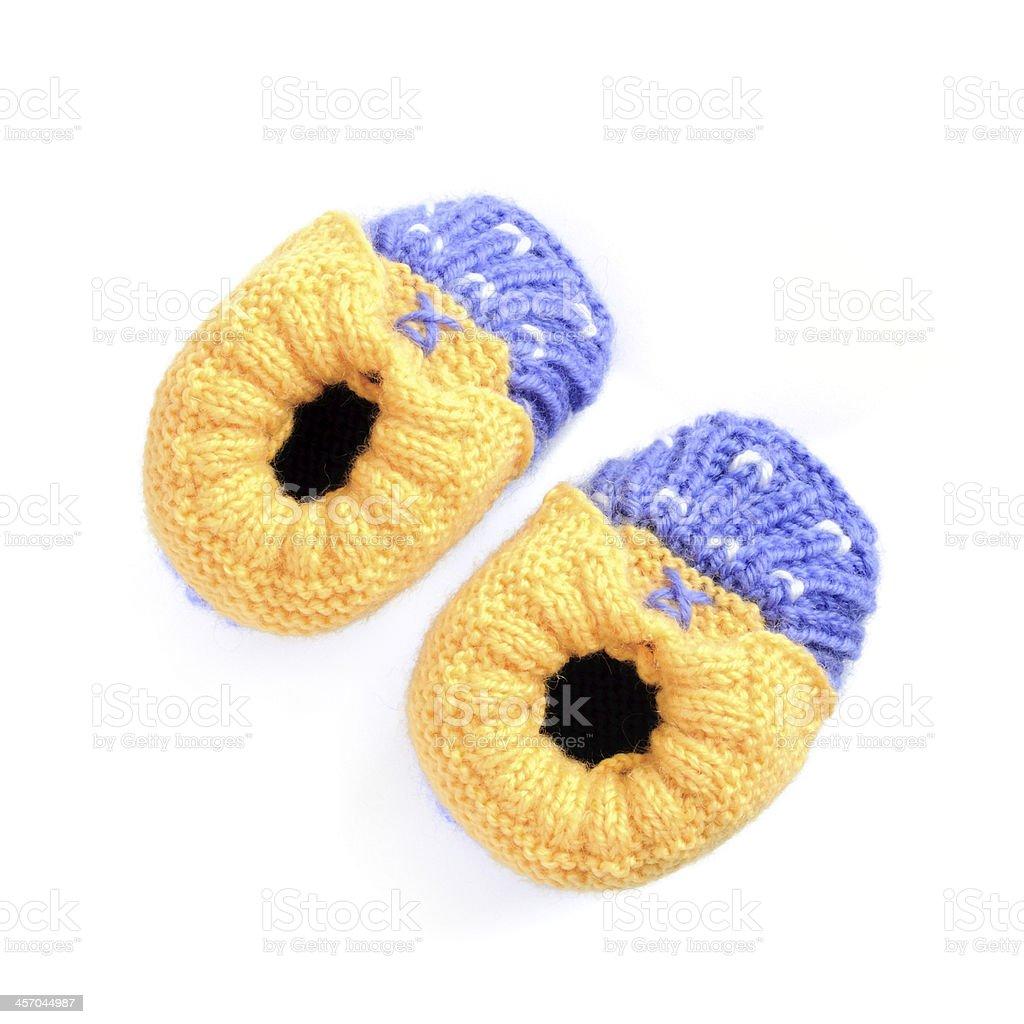 Crochet baby bootees stock photo