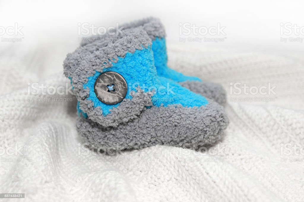 crochet baby boy booties stock photo