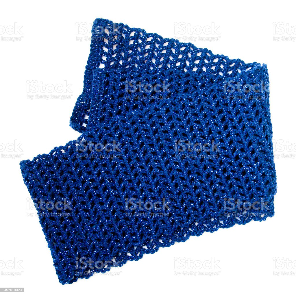 Crochet Blue Scarf Isolated On White stock photo