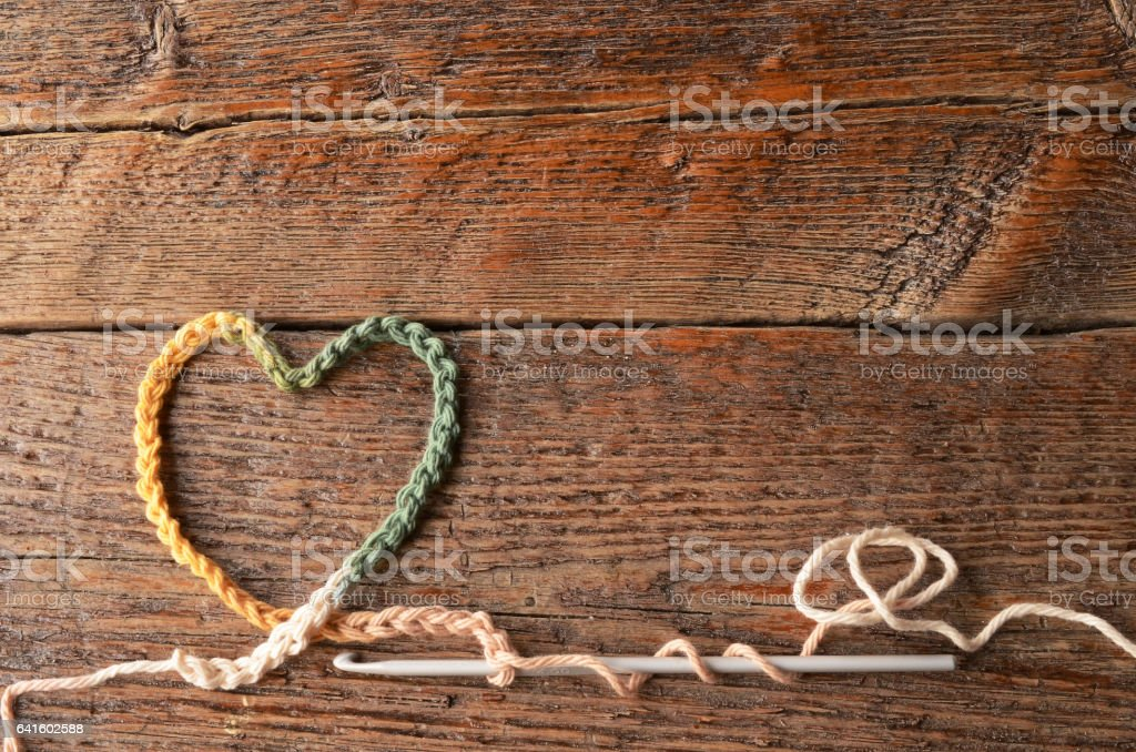 Crochet Chain Heart Symbol stock photo