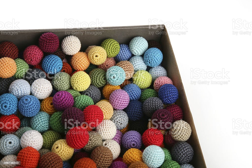 Crochet cotton beads in carton box stock photo