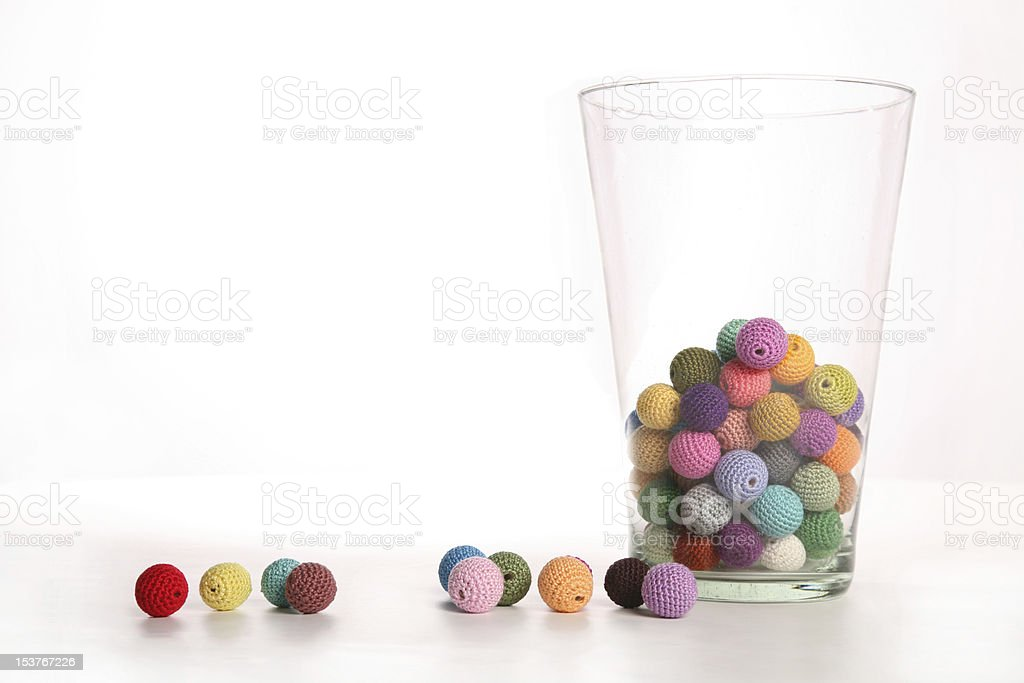 Crochet cotton beads in vase royalty-free stock photo