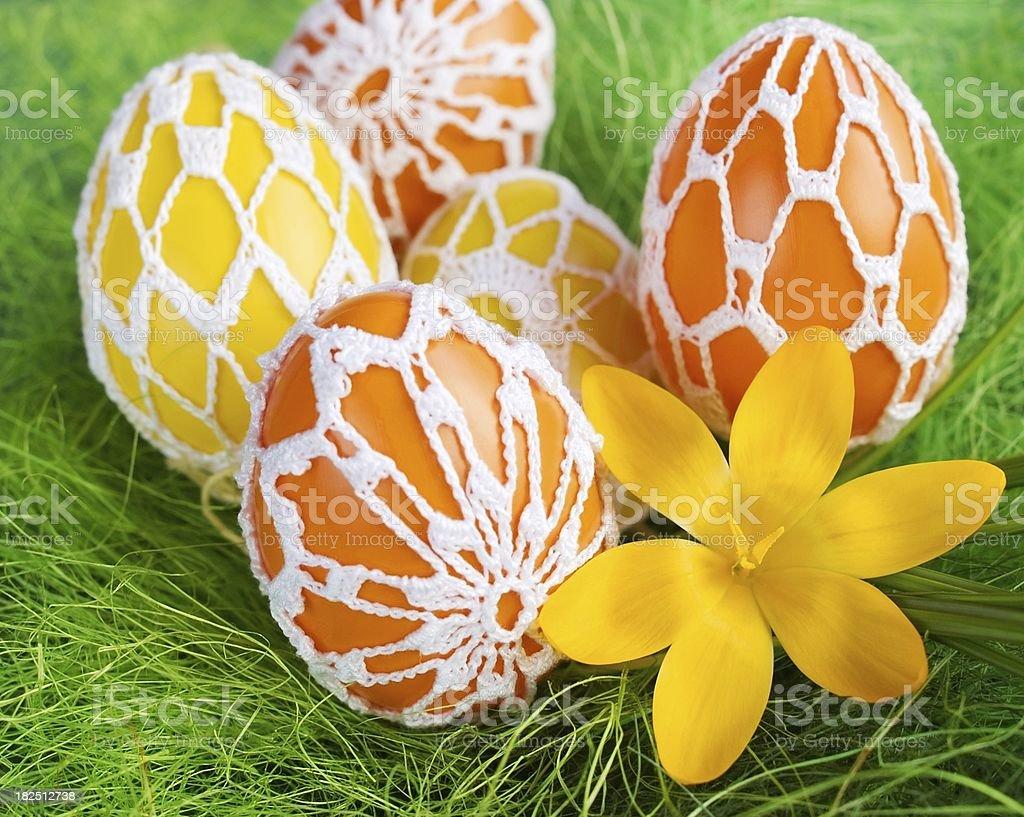 Crochet Easter eggs royalty-free stock photo