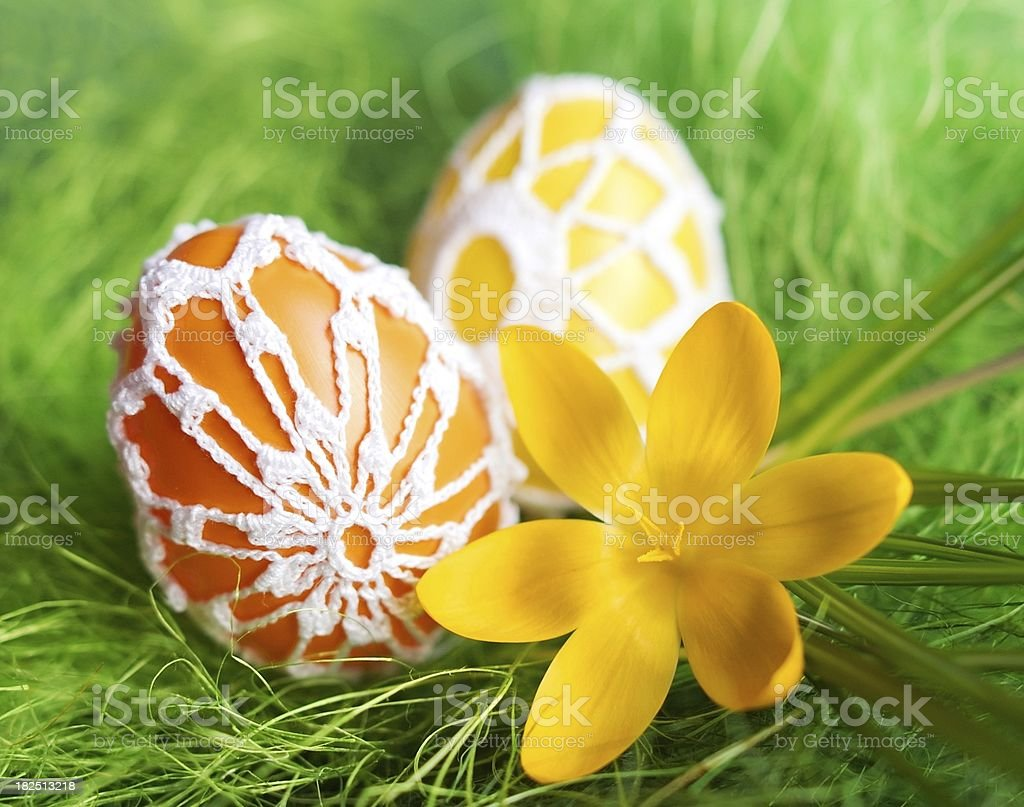 Crochet Easter eggs stock photo
