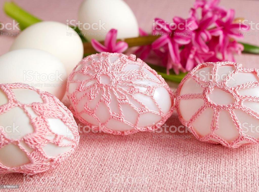 Crochet Easter eggs stock photo