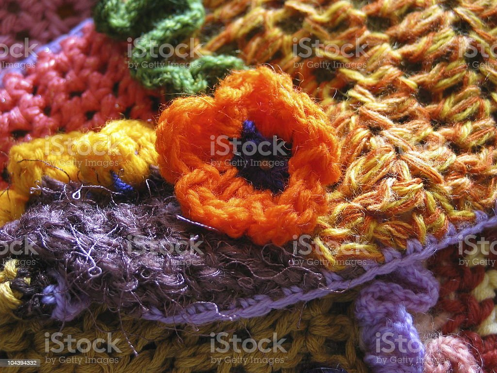 Crochet Flower Closeup royalty-free stock photo