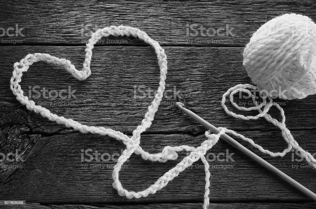 Crochet Hook and Yarn stock photo