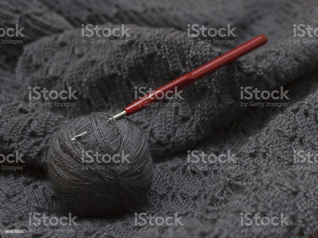 crochet hook with yarn stock photo