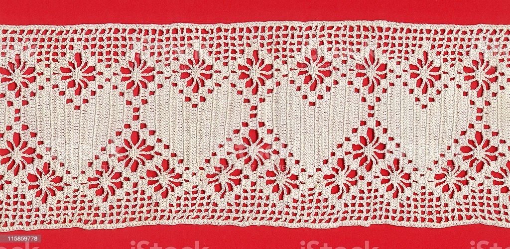 crochet lace with hearts and diamonds royalty-free stock photo