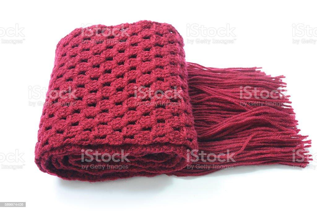 Crochet scarf on white background stock photo